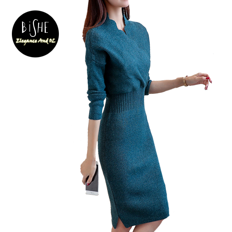 BiSHE 2017 Women Winter Elegant Dress Long Sleeve Thicken Party Slim Knitted Sweaters Dresses For Women