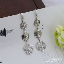 925 sterling silver jewelry ms Thai silver hollow out pattern of folk wind restoring ancient ways the new earrings ancient ways the new 2019 noble elegant circle mesh hollow out long tassels of pearl earrings earrings and collars