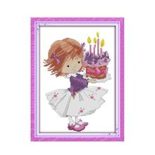 Cartoon Sweet Girl Handmade Embroidery Cross Stitch Kit Birthday Cake Congratulations Friends Happy Drawing