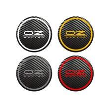 4 pçs para oz racing octavia a5 fabia excelente estilo do carro emblema logotipo centro carbono tampas cubo de roda liga adesivos todos os tamanhos
