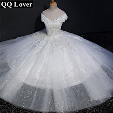 QQ Lover 2017 New Silver Lace Ball Gown Wedding dress Bridal Gown Custom made Plus Size Vestido De Noiva