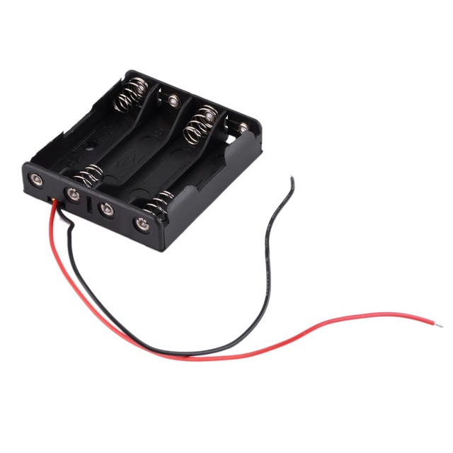 4 x AAA Battery Storage Case Plastic Box Holder with 6\'\' Cable Lead ...