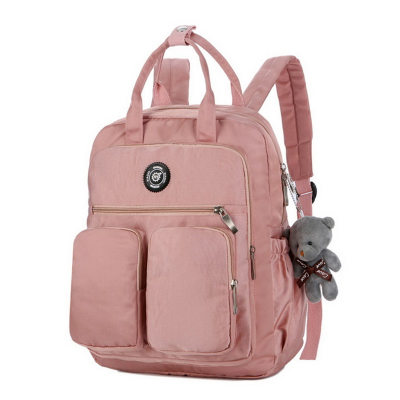 Litthing 2019 Fashion Woman Backpack Waterproof Nylon Soft Handle Solid Multi-pocket Travel Zipper School Bags Dropshipping
