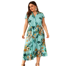 Casual Beach Dress Summer Holiday Loose Notched Button Office Sashes Elegant Maxi Robe Femme Vestidos 2019