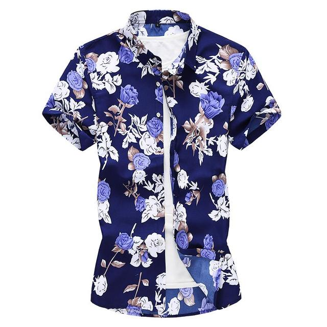 d792cfc2 Plus size Rose Short sleeve Hawaiian Shirt Mens Clothing Beach style Slim  Blouse Men Flower Floral Shirt