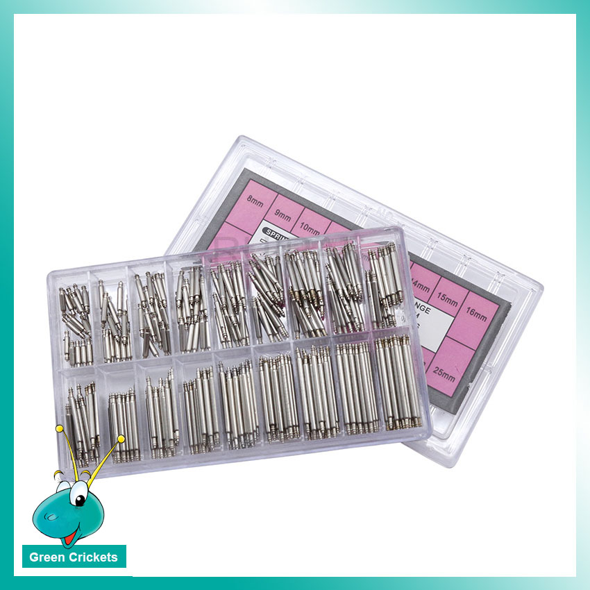 270pcs/box High Quality Stainless Steel Spring Bar Parts 8mm-25mm 1.8mm Diameter Watch Strap Spring Bar Set For Watchmaker