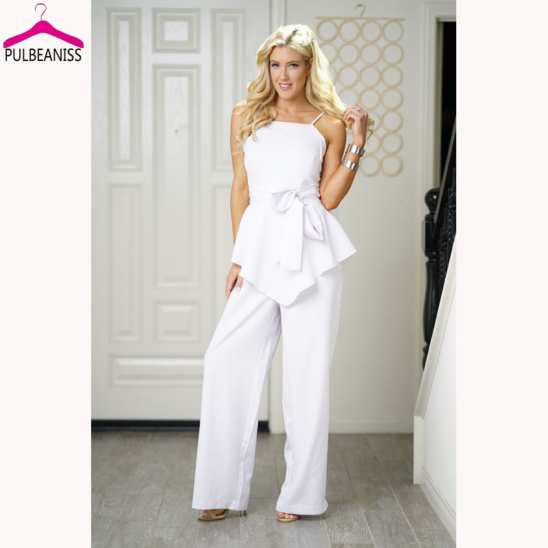 PULBEANISS 2018 Summer Womens Jumpsuits Sexy Strap Long Pant Jumpsuit Fitness Romper Slim Femme Club Patry Sleeveless Lady White
