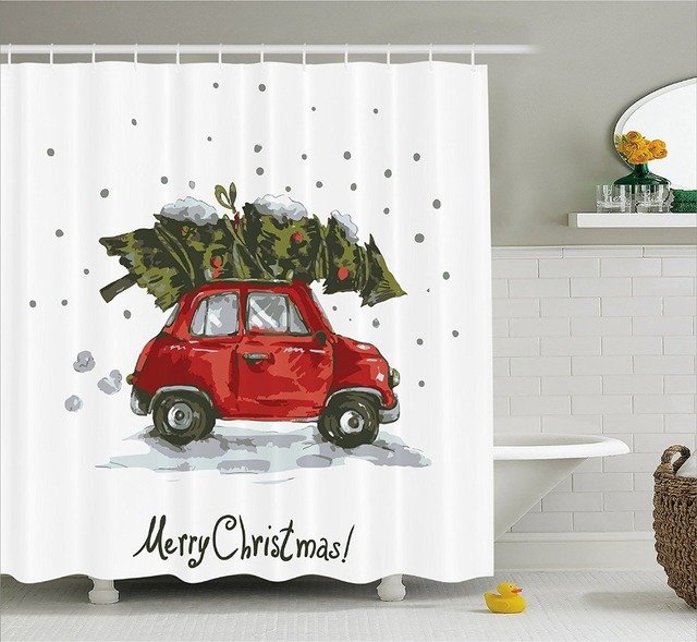 Shower Curtain Red Retro Car Carrying Xmas Tree Vintage Family Style Bathroom Accessories Green