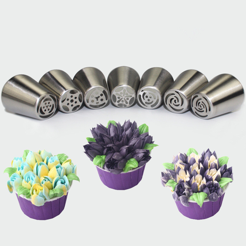 7pcs/lot Stainless Steel Russian Tulip Icing Piping Nozzle Cake Decoration Cream Tips DIY Cake Bakeware Tool Rose Flower LB 373