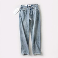 Women Classic Ice Blue Basic Jeans High Waist Jeans Mom Style ankle Length Jeans Women Vintage High Quality Boyfriend Denim Pant