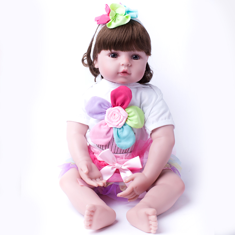 2017 New 20 Inches Smile lifelike Baby Play Toy Girl Dolls 50cm Soft Doll Reborn Baby Lovely Comfortable Toys Cute lifelike american 18 inches girl doll prices toy for children vinyl princess doll toys girl newest design