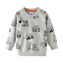 New boys long sleeve Sweater kids new designed Clothes printed cartoon Forklift girls Spring sweatershirts Jumping brand
