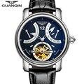 Marca de luxo guanqin 2016 moda casual relógios homens relógio mecânico automático à prova d' água luminosos relógios de pulso de ouro