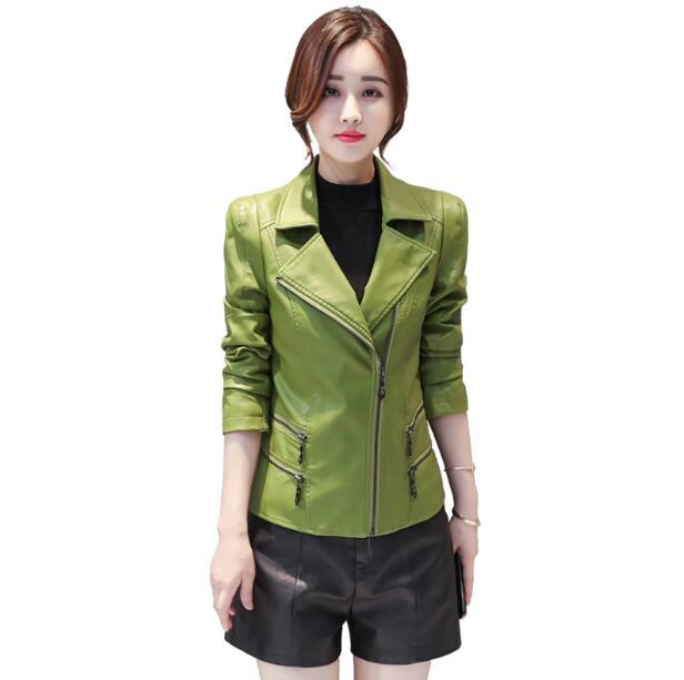 Slim Noir La Nouvelle Manteau En Hiver vert Cuir Vestes rouge Automne Fit Veste Noir Mode Taille Femmes 2018 Plus O4dXqdn