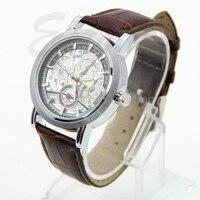 Классический Коричневый мужской Автоматическая Механическая Скелет Дата Кожезаменитель наручные часы # t50p # Прямая поставка