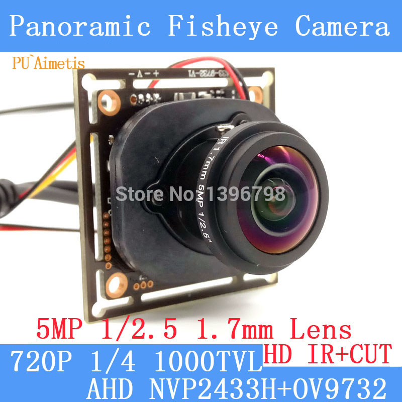 PU'Aimetis 1.0MP Panoramique Caméra Fisheye 360 Degrés Vue 720 P AHD Caméra IR ODS/BNC Câble