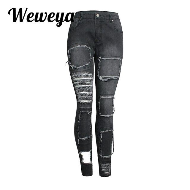 2c03309c031d41 Weweya Zerrissenen Jeans Frauen Röhrenjeans Stretch Baumwolle Denim Hosen  Mode Schwarze Frau Jeggings Loch Plus Größe