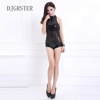 DJGRSTER New 2017 Hot Sale Lady Women Sexy Nightclub holes Jumpsuits Singer Jazz Hip Hop Dance Costumes Beyonce Bodysuit