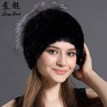 2018 nuevas mujeres de la manera sombrero ruso sólido visón invierno  causales sombreros para las mujeres muchos colores señoras Real Mink caps  Mujer 429e4e5ae9e