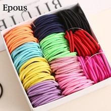 New 100PCS/Lot Girls Candy Colors Nylon 3CM Rubber Bands Children Safe Elastic Hair Bands Ponytail Holder Kids Hair Accessories(China)