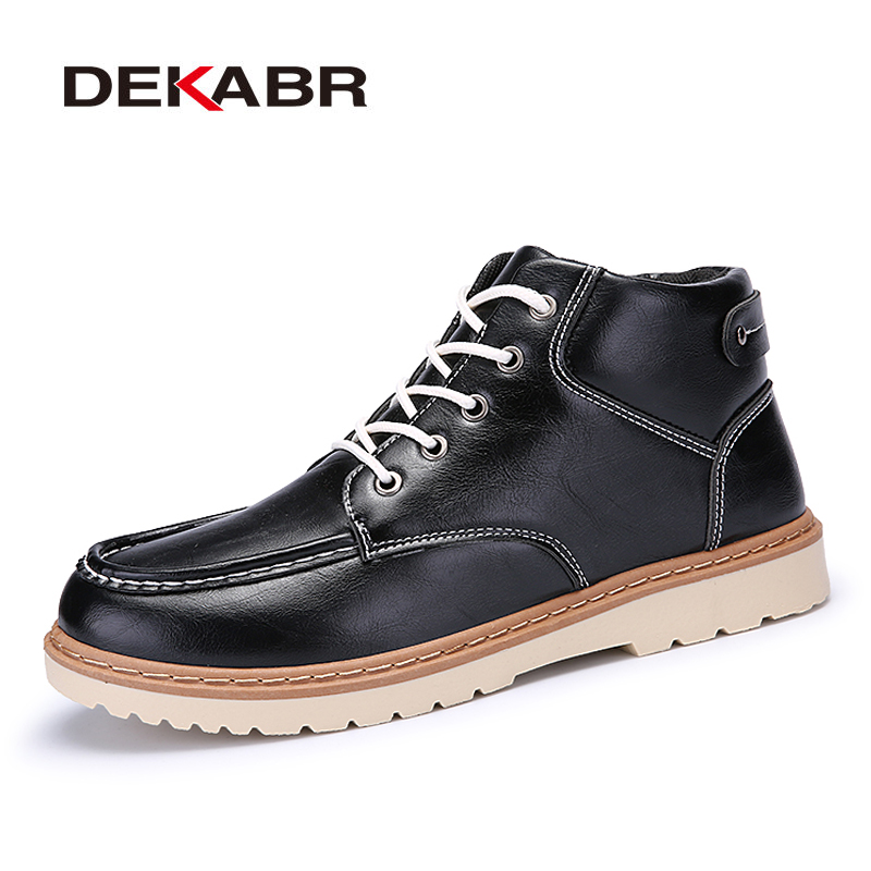 DEKABR Autumn Early Winter pu Leather Ankle Boots Men Lace-up Non-slip Shoes New Casual Classics High Quality Brand Men Boots