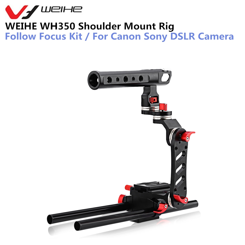 WEIHE WH350 Shoulder Mount Rig Motorized Follow Focus Zoom Control Video Shoulder Rig for Canon Sony DSLR Camera digitalfoto pdmovie motorized wired follow focus zoom focus for dslr camera dji ronin m rig 3 axis gimbal film making sony nikon