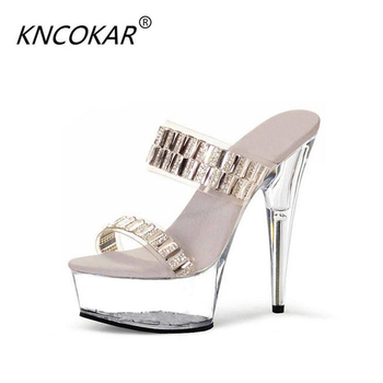 KNCOKAR2018 Hate sky-high women's shoe club pole shoes 15cm/ cm ultra high heel crystal sandals transparent water diamond weddin