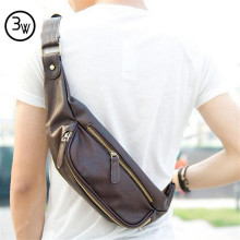 Mens Bag Men's Vintage Leather Travel Riding Motorcycle Bike Shoulder Messenger Sling Travel Chest Bag