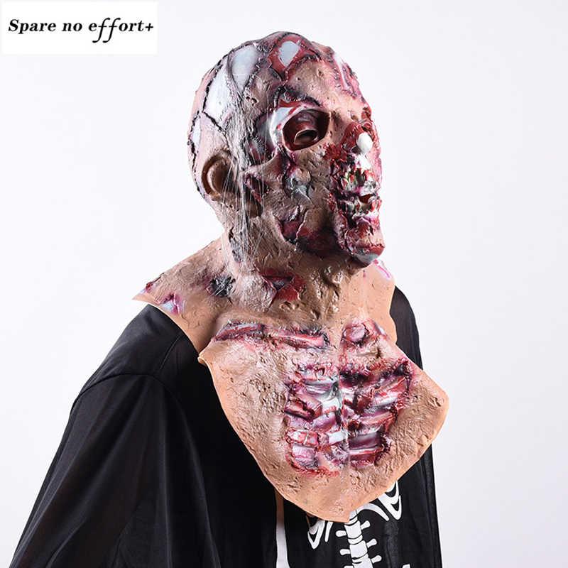 Realistis Lateks Pesta Topeng Menakutkan Tengkorak Topeng Penuh Kepala Halloween Masker Horror Cosplay Halloween Horror Zombie Wajah Tengkorak Masker