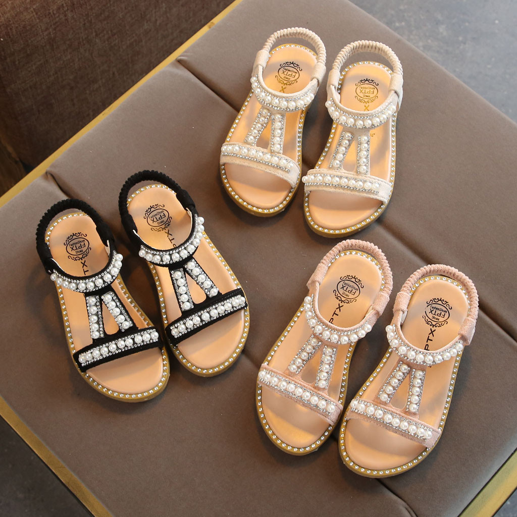 Girls Sandals Summer Kids Shoes Pearl Princess Shoes Sandals For Baby Girls Crystal Single Princess Shoes Sandals For Children