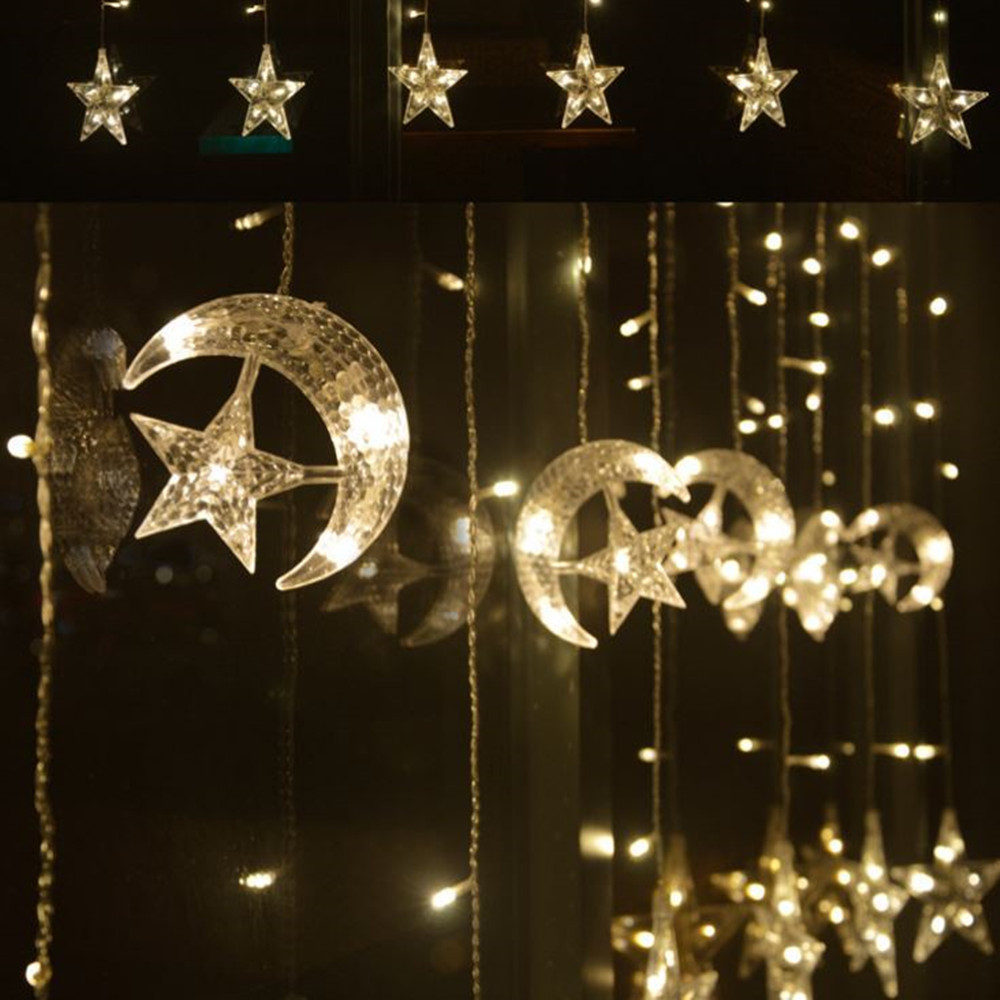 Moon Star LED Fairy String Christmas Lights Ramadan Decoration Holiday Lights Curtain Lamp 220v Wedding LED Lamp for Eid Mubarak in Party DIY Decorations from Home Garden