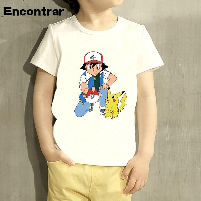 Camiseta de dibujos animados para niños Pokemon Go diseño de dibujos animados para niños/niñas Pikachu camisetas de manga corta para niños Linda camiseta, ooo2171