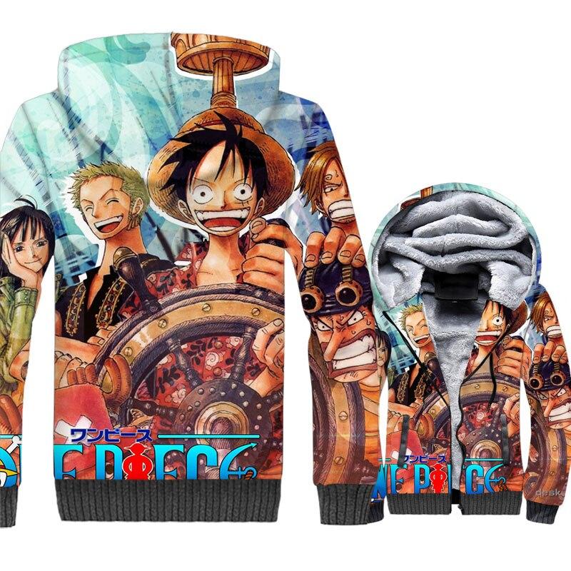 Japan Anime One Piece 3D Jackets Men Luffy Hoodies 2018 Sweatshirt New Brand Thick Fleece Warm Streetwear The Pirate King Coat