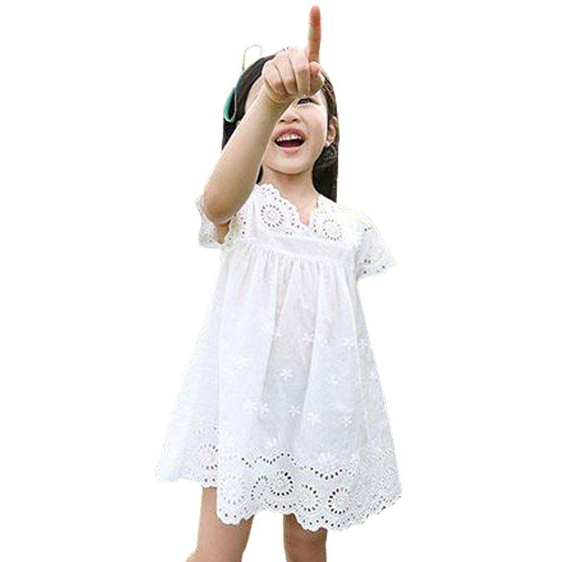 Girls clothes summer 2019 girls cotton lace dress for kids children clothing white lace princess korean cute dress size 100-140