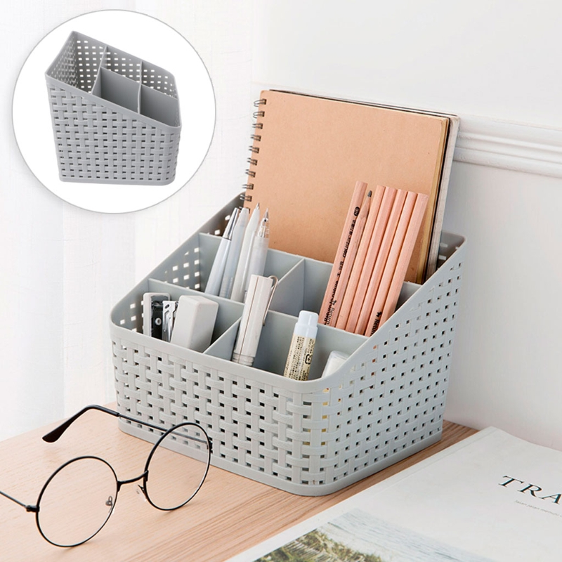 Multi-grid plastic makeup box creative desktop storage box cosmetics Jewelry remote control holder small objects Container