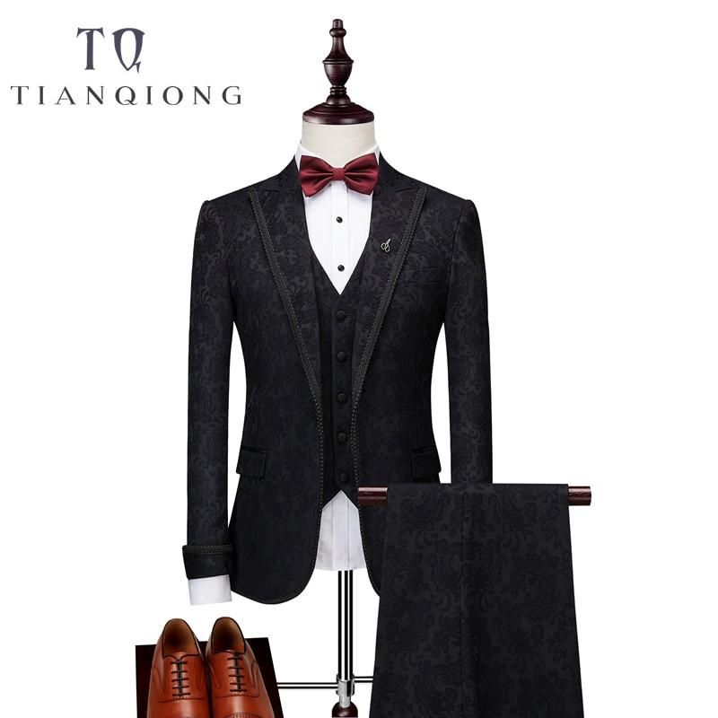 Jackets+Pants+Vests Black Suit Men 2018 Slim Fit Wedding Suits For Men 3 Piece Bridegroom Suit Luxury Brand Party Prom Suits