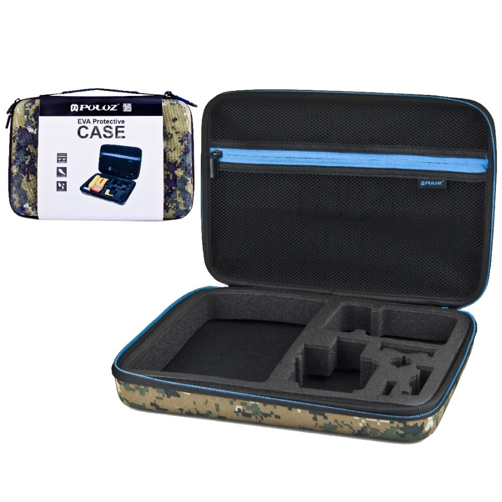 Camouflage Pattern Waterproof Carrying Travel Case stocker for GoPro HERO 4 Session /4 /3+ /3 /2 /1 Size: 32cm x 22cm x 7cm