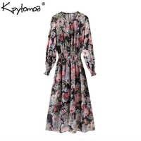 Vintage Elegante Blumen Druck Chiffon Midi Kleid Frauen 2020 Mode Zwei Stücke Gesetzt Elastische Taille Kleider Casual Vestidos Mujer