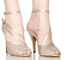 New Ladies Flesh Satin Patent Leather Straps Ballroom Latin Samba Salsa Tango Dance Dancing Shoes Sale