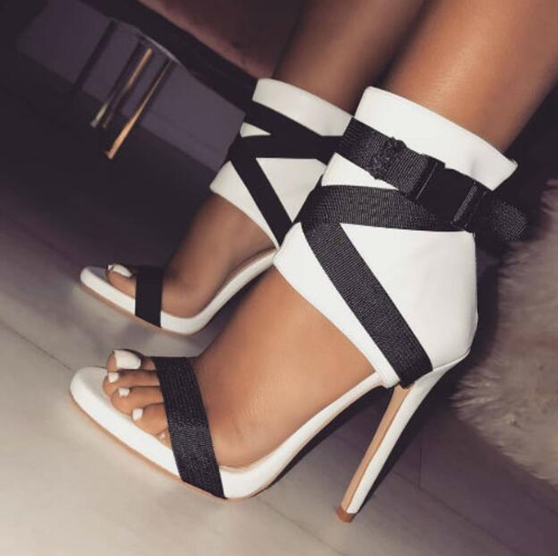 2018 Ladies White Leather Cover Heels Gladiator Sandals Woman Open Toe Buckle Ankle Wrap Shoes Lady Thin High Heels Sandal Boots стоимость