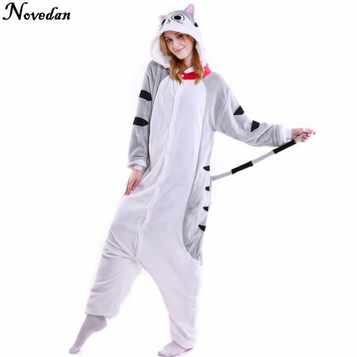 Kigurumi Flannel Chis Sweet Home Pajamas Winter Hooded Conjoined Animal Cosplay Cheshire Cat Onesie Pyjamas Halloween Costumes