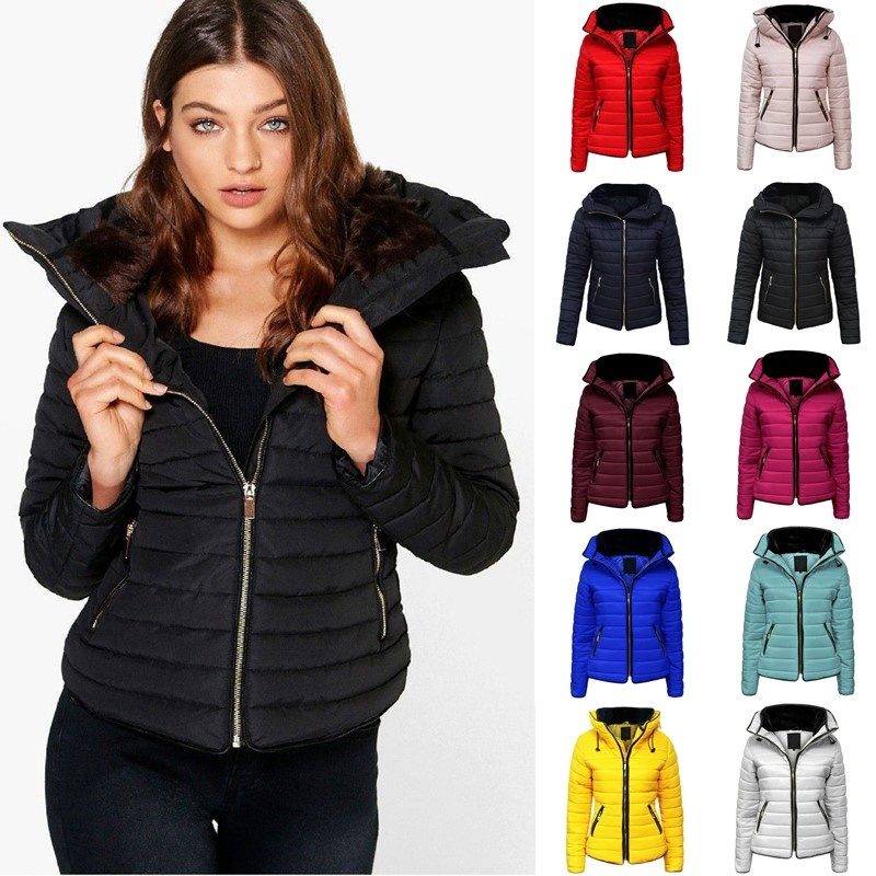 ZOGAA Hot Sale Woman Coats Winter Jacket   Parka   Womens Brand Hooded Coat Causal Slim Fit Solid Color Winter Girl Thick Clothing