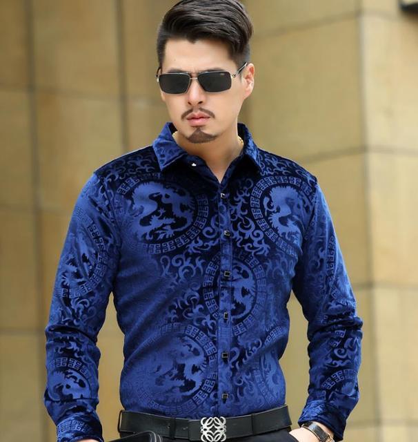 Top moda Trendy luksusowe męskie jedwabne koszule formalne  ci0dA