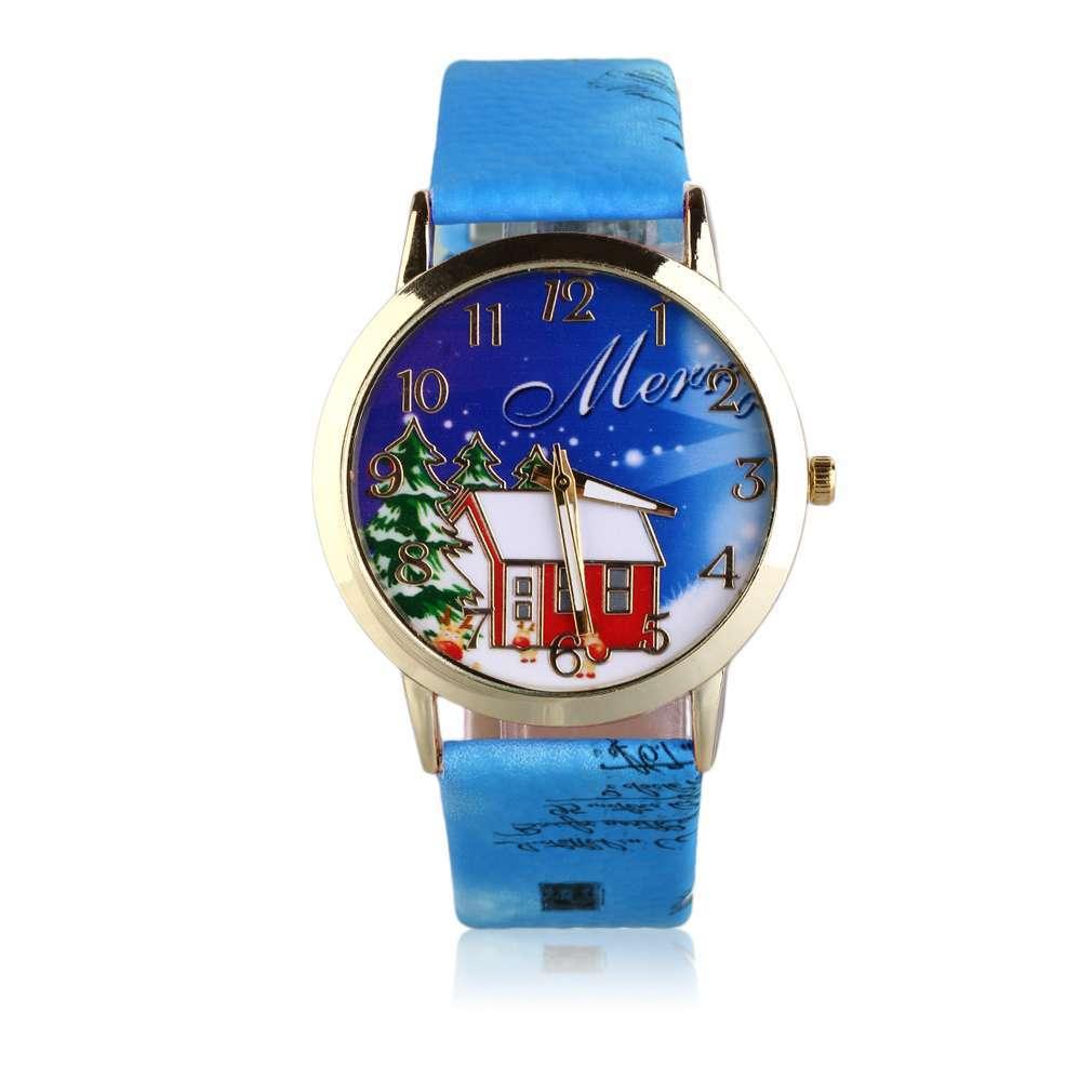 OUTAD Excellent Vintage Men Wome Unisex Christmas Santa Snowman Pattern PU Leather Strap Quartz Wrist Watches Gift relogio