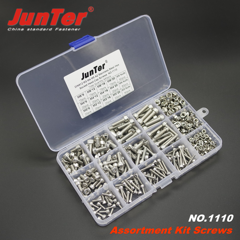 Image 3 - 440pcs M3 M4 M5 A2 Stainless Steel DIN912 Allen Bolts Hex Socket Head Cap Screws With Nuts Assortment Kit NO.1110-in Bolts from Home Improvement