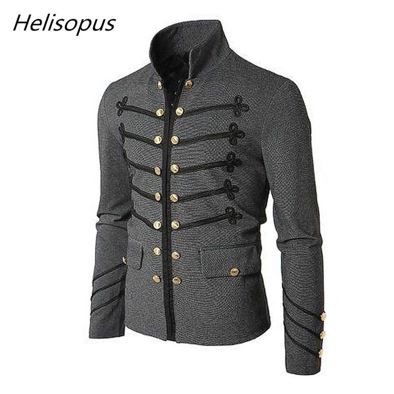 57660ea1f09 Helisopus Autumn Winter Men's Slim Fit Jacket Fashion Black Gray Vintage  Gothic Coat Steampunk Coat Men