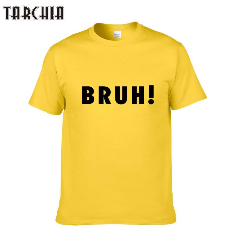 TARCHIA Men Basic T-Shirt BRUH Printed Cotton O Neck Slim Fit Male Fashion T Shirts Short Sleeve Casual Top Tees Plus Size XXL