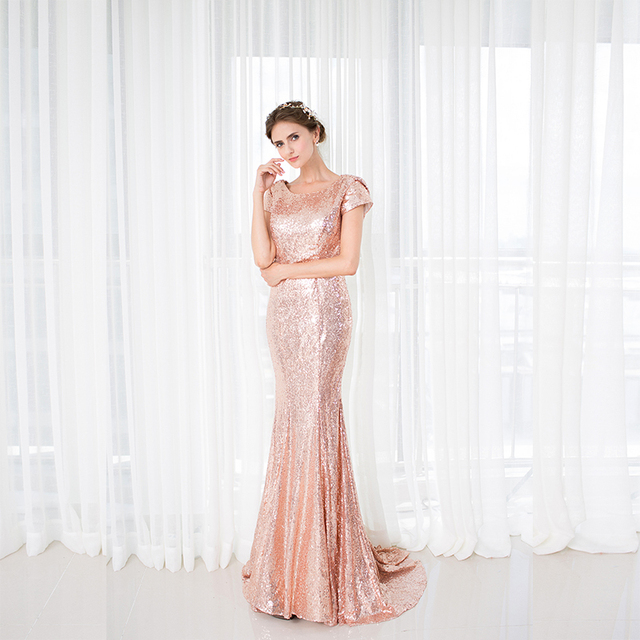 2018 Backlackgirl Elegant Rose Gold Sequins Bridesmaid Dress New Arrival  Long Cowl Back Wedding Party Gown Plus Size Custom Made 5b088608382f