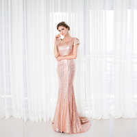 2018 Backlackgirl Elegant Rose Gold Sequins Bridesmaid Dress New Arrival Long Cowl Back Wedding Party Gown Plus Size Custom Made