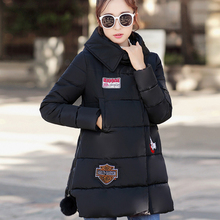 2016 New Fashion Winter Hooded Long Sleeve Temperament British Cloth Paste Thicken Long Coat Down Cotton